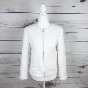 Ann Taylor Pure White Zip Up Tweed Blazer Jacket